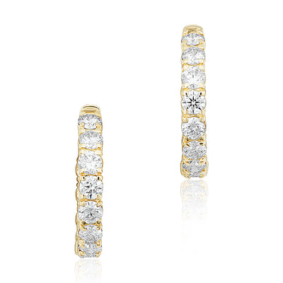 14K Yellow Gold and Diamond Inside Out Hoop Earrings