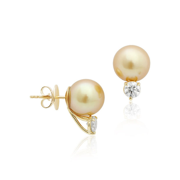 18K Yellow Golden South Sea Cultured Pearl and Diamond Stud Earrings