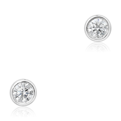 14K White Gold and Round Diamond Stud Earrings