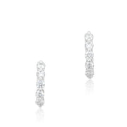 18K White Gold Huggie Hoop Diamond Earrings