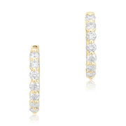 18K White Gold Diamond Huggie Hoop Earrings