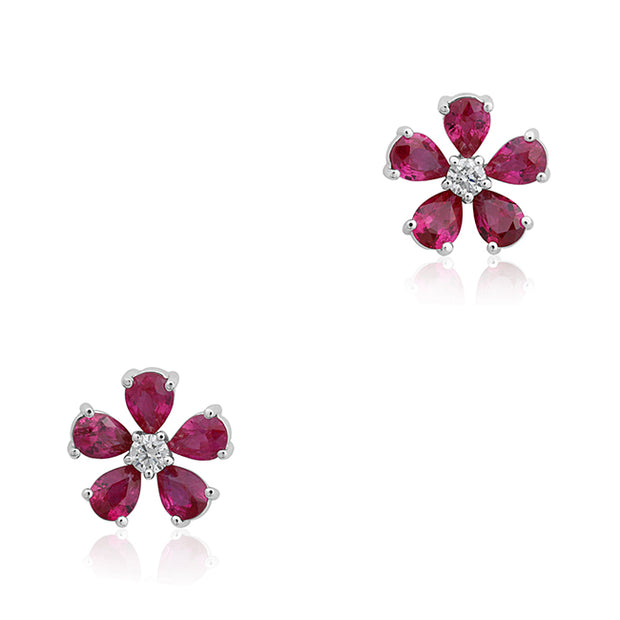 18K White Gold Diamond and Ruby Earrings