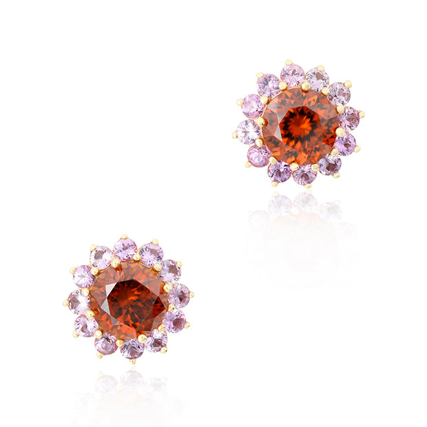18K Rose Gold Stud Earrings with Brown Zircon and Pink Sapphires