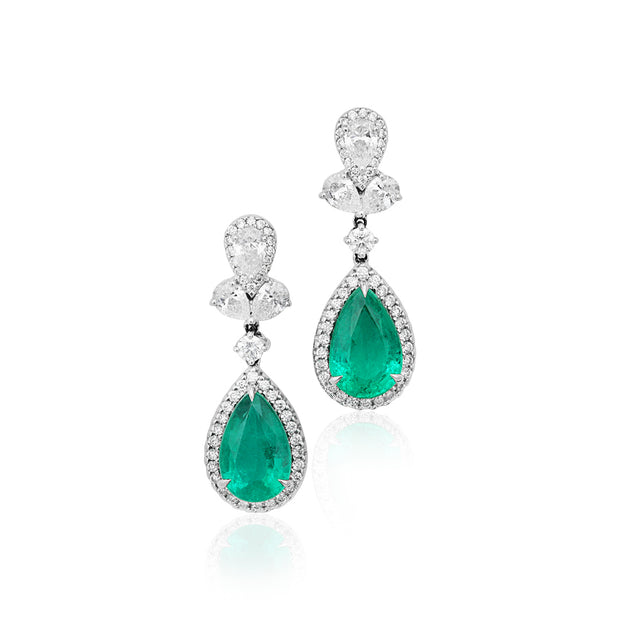 18K White Gold Pear Shape Emerald and Diamond Halo Drop Earrings