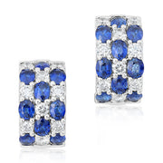 18K White Gold Diamond and Sapphire Huggie Hoop Earrings