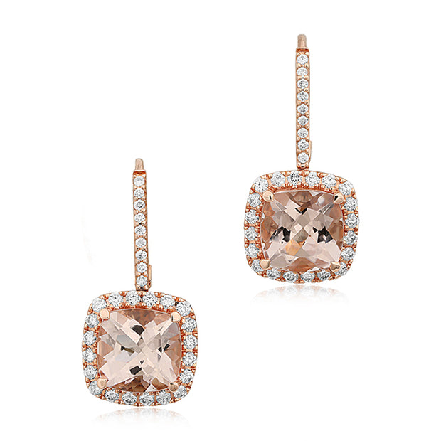 18K Rose Gold Morganite and Diamond Earrings