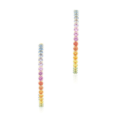 18K Yellow Gold Rainbow Sapphire Inside Out Hoop Earrings
