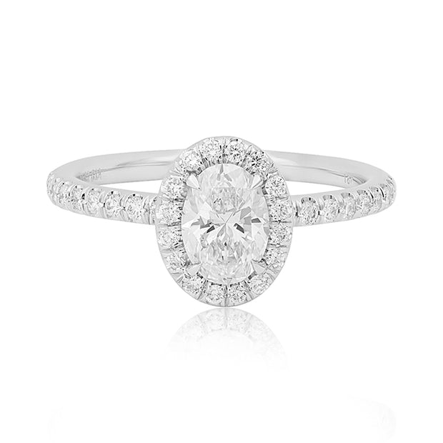 18K White Gold Diamond Halo Ring