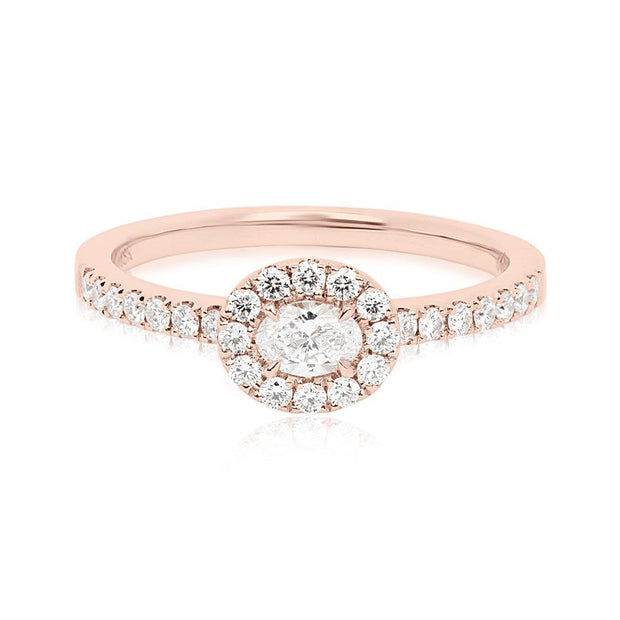 Forevermark 18K Rose Gold Diamond Halo Engagement Ring with Oval Center Top View