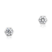 18K White Gold Stud Earrings