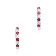 Diamond and Ruby Hoop Earrings