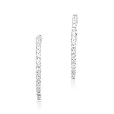 18K White Gold and Diamond Oval Hoop Earrings