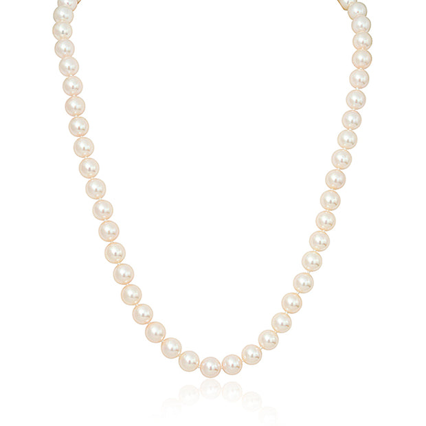 Pearl Necklace with 14K White Gold Ball Clasp
