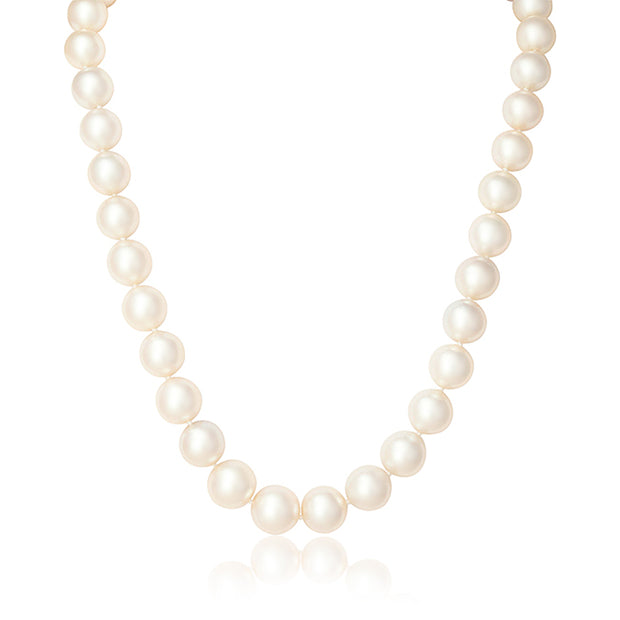 Pearl Necklace with a 14K Yellow Gold Ball Clasp