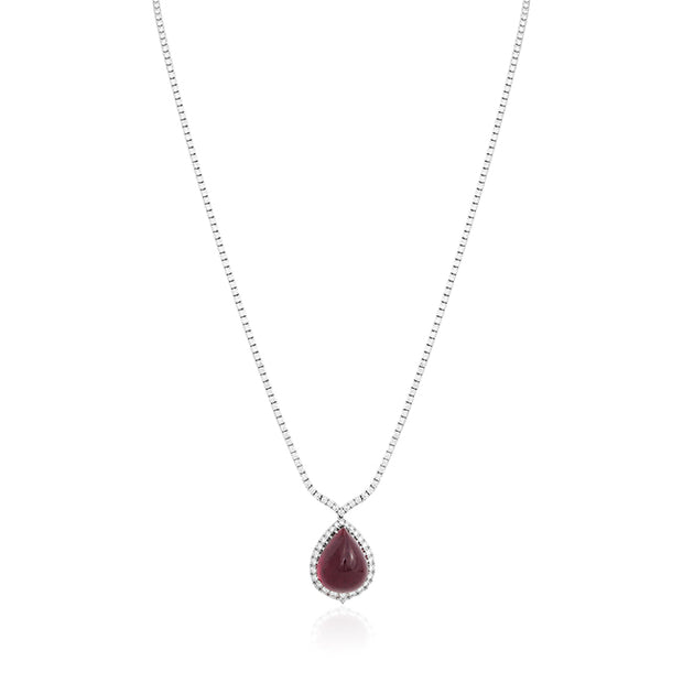 18K White Gold and Rubelite Necklace with Diamonds