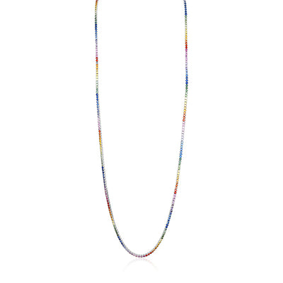 18K Yellow Gold Necklace with Sapphires in a Rainbow Pattern