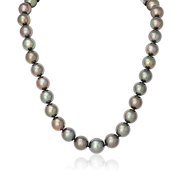 Cultured Tahitiian Black and Green Toned Pearls with a 14K White Gold Ball Clasp