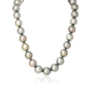 Tahitian Green and Rose Toned Pearl Necklace with a 14K White Gold Ball Clasp