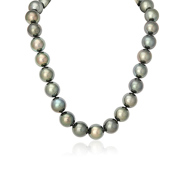 Tahitian Cultured Black and Green Toned Pearl Necklace with a 14K White Gold Ball Clasp