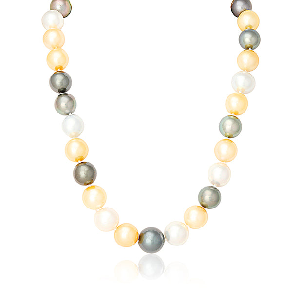 South Sea Cultured Golden, White, and Black Toned Pearls with a 14K Yellow Gold Ball Clasp
