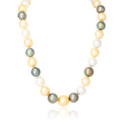 South Sea Cultured Golden, White, and Black Pearls with a 14K Yellow Gold Ball Clasp