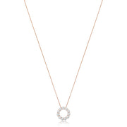 14K Rose Gold Necklace with a Diamond Circle Pendant