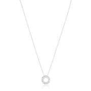 14K White Gold Necklace with a Diamond Circle Pendant