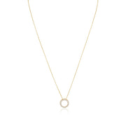 14K Yellow Gold Necklace with Circle Diamond Pendant