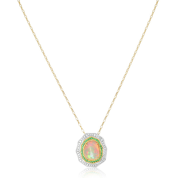 18K White and Yellow Gold Necklace with Opals and Diamonds