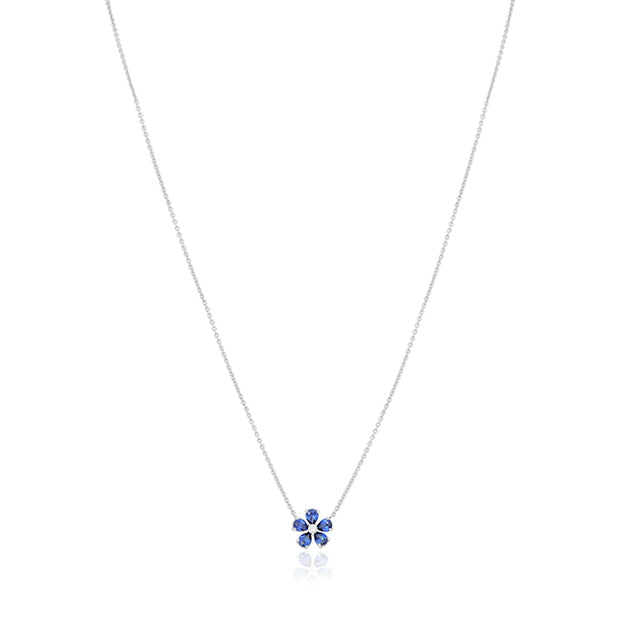 18K White Gold Necklace with a Flower Sapphire and Diamond Pendant