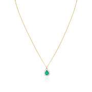 18K Yellow Gold Necklace with an Emerald and Diamond Pendant