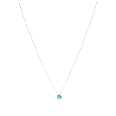 18K White Gold Necklace with an Emerald and Diamond Pendant