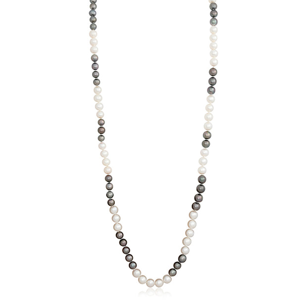 Black Tahitian and White Freshwater Pearl Necklace