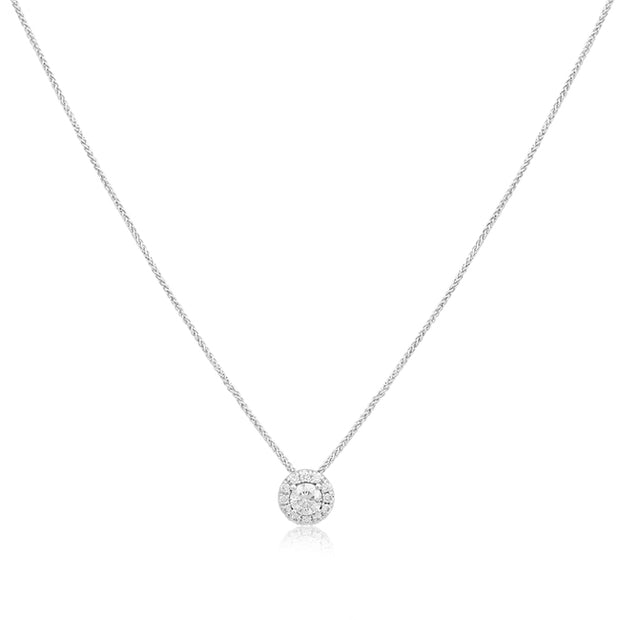 14K White Gold and  Diamond Halo Necklace