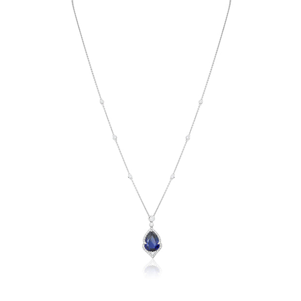 18K White Gold Necklace with a Sapphire and Diamond Pendant