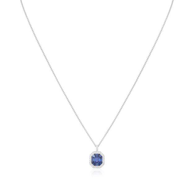 18K White Gold Sapphire and Diamond Pendant