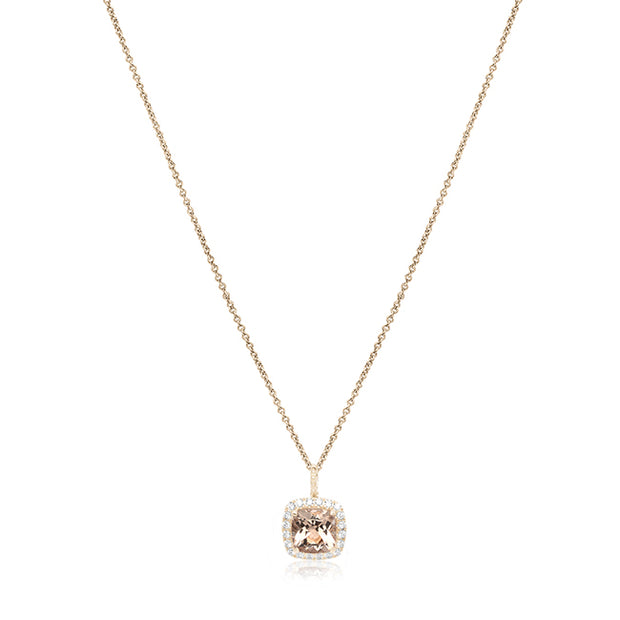 18K White Gold Morganite and Diamond Necklace