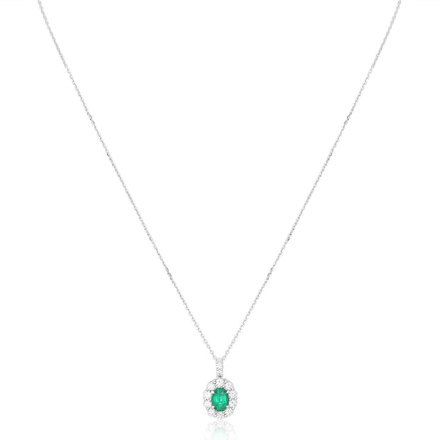 18K White Gold Pendant with an Emerald and Diamonds