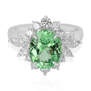 18K White Gold Mint Green Garnet Ring
