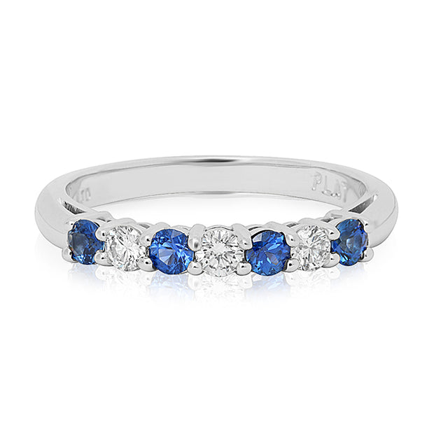 Platinum Blue Sapphire and Diamond Band
