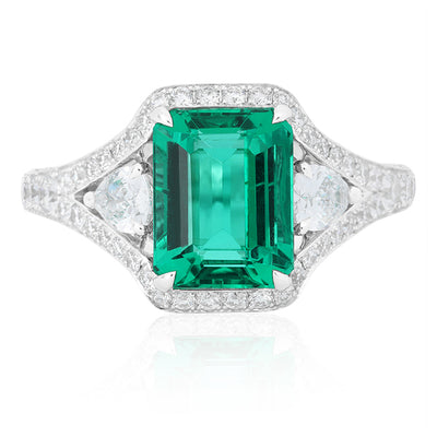 18K White Gold Emerald and Diamond Ring