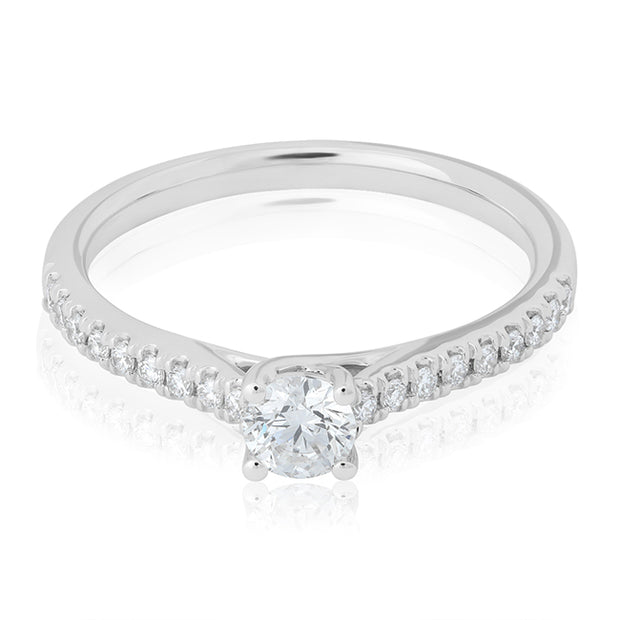 14K White Gold and Diamond Ring