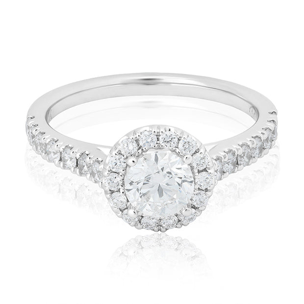 14K White Gold Round Diamond Halo Ring