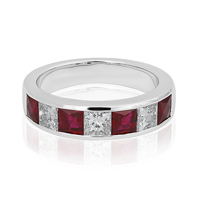 18K White Gold Diamond and Ruby Band