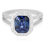18K White Gold Sapphire and Diamond Ring