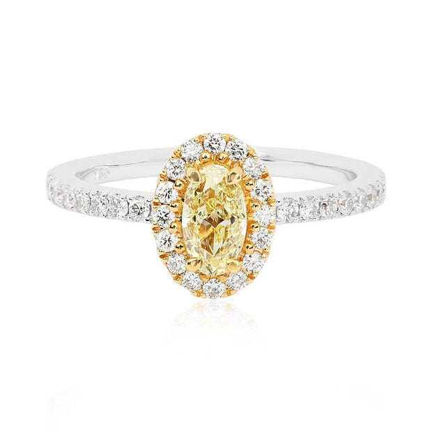 18K Yellow And White Gold Oval Yellow Diamond Halo Ring