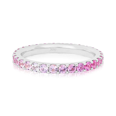 18K White Gold Band with Dark Pink and Light Pink Sapphires