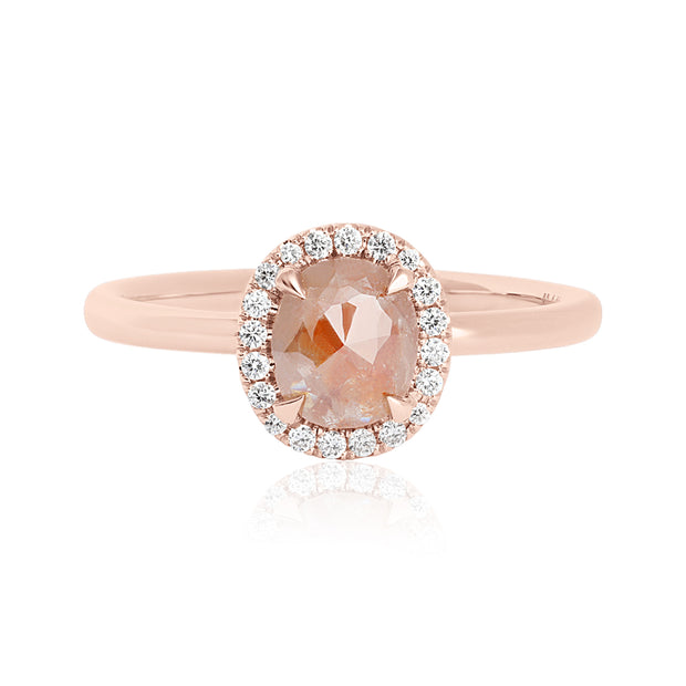 14K Rose Gold Oval Opaque Diamond Halo Engagement Ring