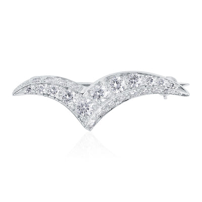 Platinum Diamond Seagull Brooch