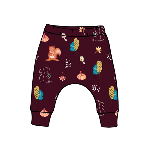 Burgundy Squirrels Harem Leggings
